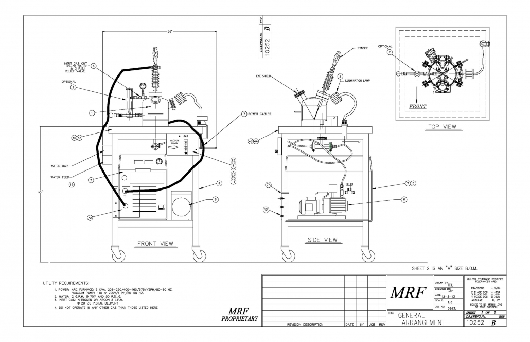 Arc Melt Furnace ABJ-338 layout